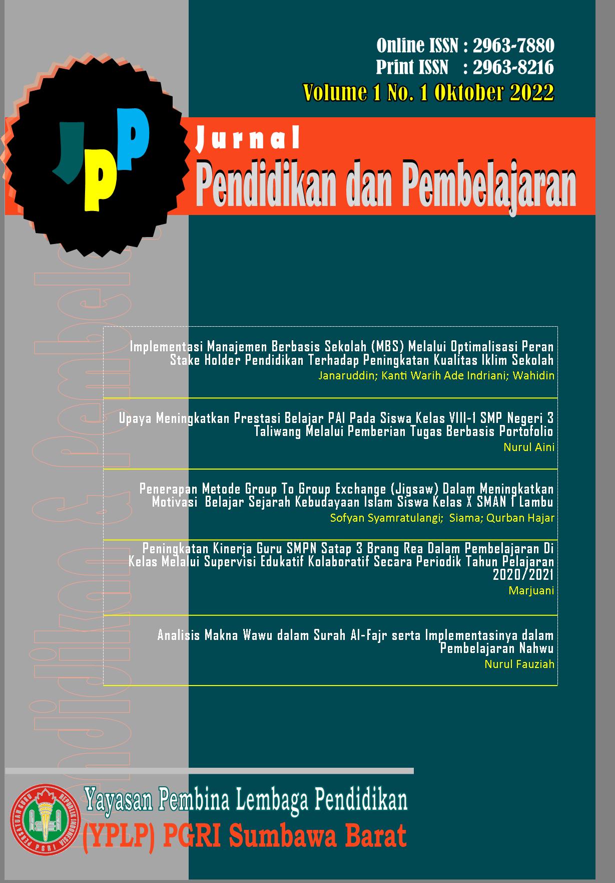 Jurnal Pendidikan dan Pembelajaran (JPP) Sumbawa Barat
